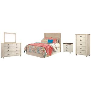 Gallery - Full Panel Headboard With Mirrored Dresser, Chest and Nightstand
