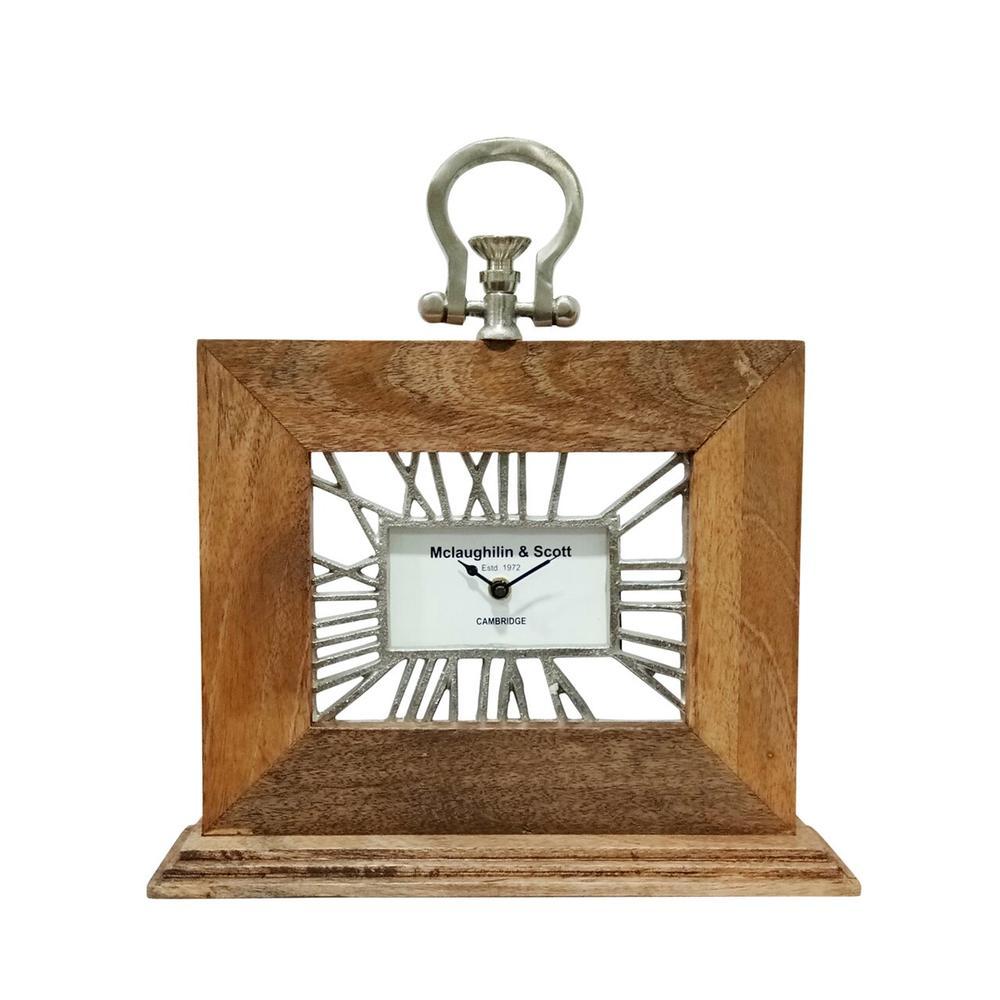 12x13 Mango Wood Table Clock, Natural