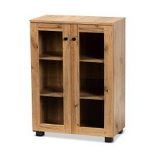 See Details - Baxton Studio Mason Modern and Contemporary Oak Brown Finished Wood 2-Door Storage Cabinet with Glass Doors