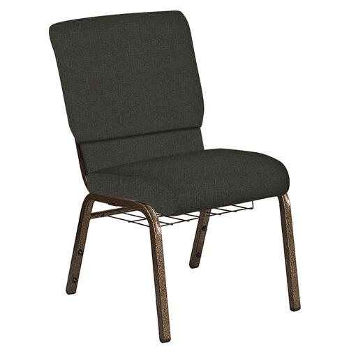 Flash Furniture - 18.5''W Church Chair in Cobblestone Wintermoss Fabric with Book Rack - Gold Vein Frame