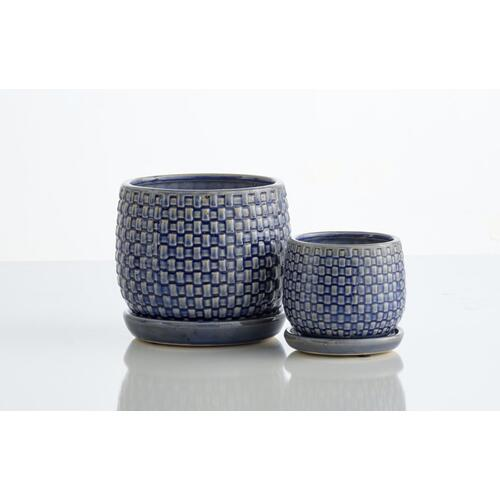 Basketweave Petits Pots w/ attached saucer, Set of 2