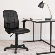 View Product - Mid-Back Black Quilted Vinyl Swivel Task Office Chair with Arms