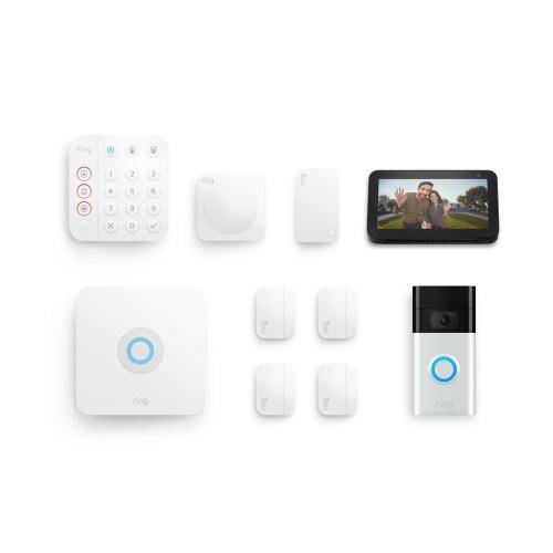 8-Piece Alarm Security Kit + Video Doorbell with Echo Show 5 - Satin Nickel