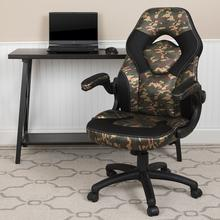 X10 Gaming Chair Racing Office Ergonomic Computer PC Adjustable Swivel Chair with Flip-up Arms, Camouflage\/Black LeatherSoft