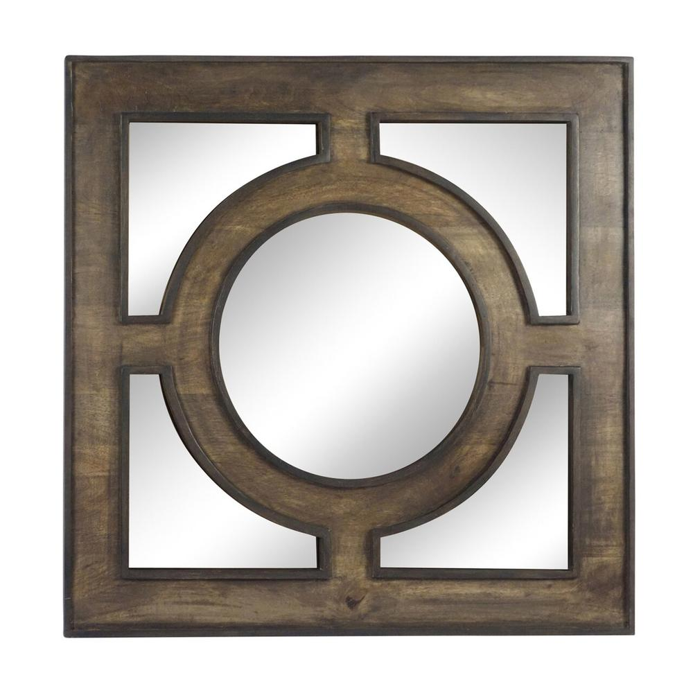 """See Details - Wooden 36"""" Wall Mirror, Gray"""
