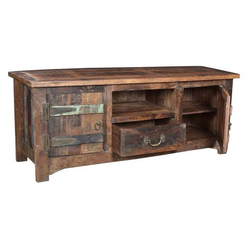Antique Reclaimed Wood Entertainment Cabinet 03b