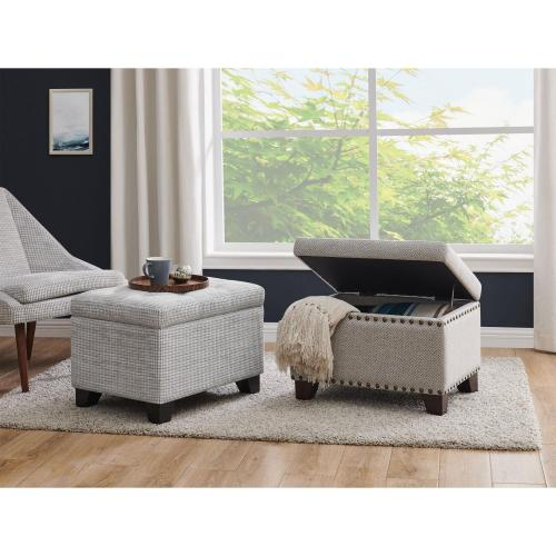 Jonas Fabric Rectangular Nailhead Tufted Storage Ottoman, Cardiff Gray