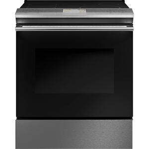 "Cafe Appliances30"" Smart Slide-In, Front-Control, Induction and Convection Range in Platinum Glass"