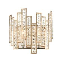 Equilibrium 2-Light Sconce in Matte Gold with Clear Crystal