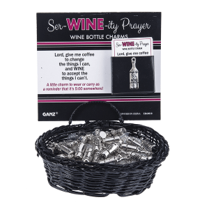 Ser-Wine-ity Prayer Wine Bottle Charms in a Basket (36 pc. ppk.)