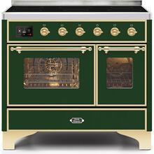 Majestic II 40 Inch Electric Freestanding Range in Emerald Green with Brass Trim