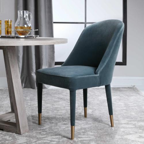 Brie Armless Chair, Blue, 2 Per Box