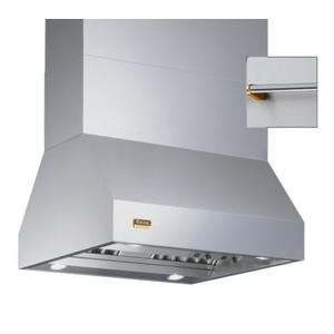 """Viking - 66"""" Wide Island Hood, Brass Accessory Rail on front, back and both sides"""