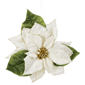 Poinsettia Clip Ornament - Ivory