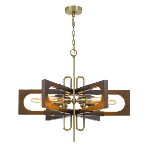 60W X 6 Sneek Metal/Wood Chandelier (Edison Bulbs Are Not included)