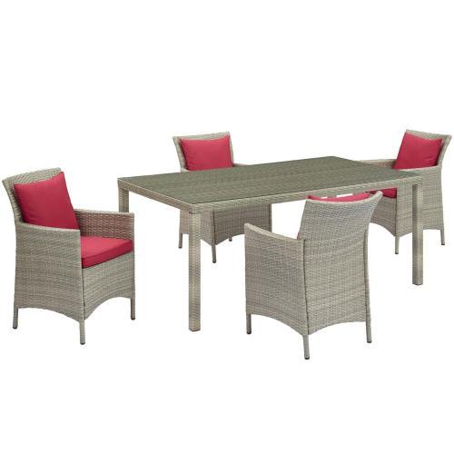 Conduit 5 Piece Outdoor Patio Wicker Rattan Dining Set in Light Gray Red