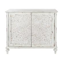 Dahlia Carved Front Door Chest in Weathered White