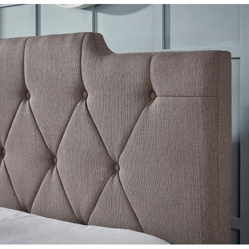 All-in-One Upholstered Queen Bed in Taupe