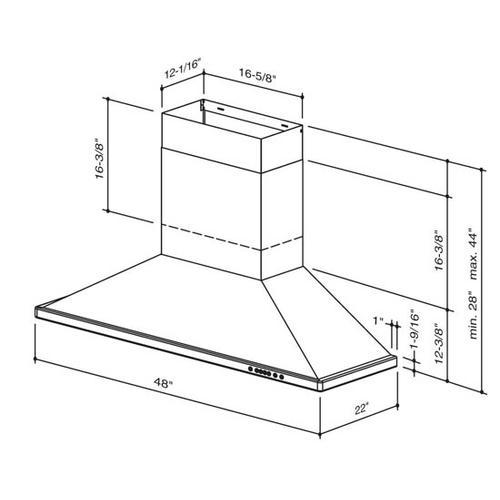 "BEST Range Hoods - WTT32 - 48"" Brushed Stainless Steel Wall Mount Chimney Hood with Internal 1275 Max CFM Blower"