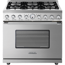 """See Details - Range DECO 36"""" Classic Stainless steel, Chrome 6 gas, electric oven, self-clean"""