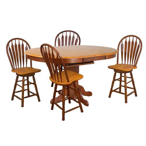 Pedestal Pub Table w/Butterfly Top - Nutmeg with Light Oak Finish