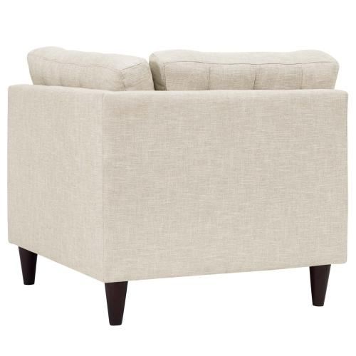 Empress Upholstered Fabric Corner Sofa in Beige