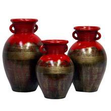 3 PC Red Olla Con Argolla Pots