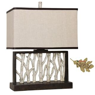 Rectangular Table Lamp with Birch Tree Motifs Fabric Shade with Contrast Trim