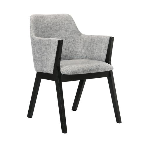 Armen Living - Renzo Light Gray Fabric and Black Wood Dining Side Chairs - Set of 2