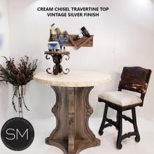 """View Product - Contemporary Bar Table delicately designed w/ cream Bullnose-1204E - 38"""" / Cream Chiseled / Vintage Silver"""