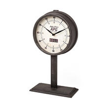 Attalack II Black Metal Round Face Table Clock