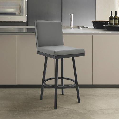 """Armen Living - Gem 30"""" Bar Height Swivel Barstool with Black Finish and Grey Faux Leather"""
