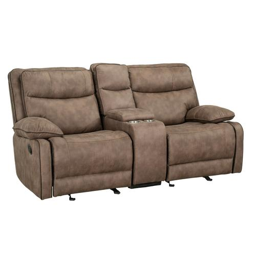 Colleton Manual Motion Reclining Loveseat with Console, Beige