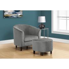 ACCENT CHAIR - 2PCS SET / LIGHT GREY QUILTED FABRIC