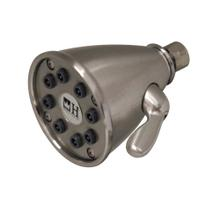 Showerhaus round showerhead with eight easy-to-clean spray jets. Solid brass construction with adjustable ball joint.