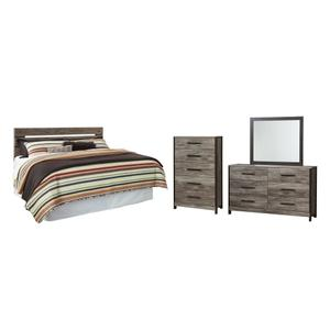 King/california King Panel Headboard With Mirrored Dresser and Chest