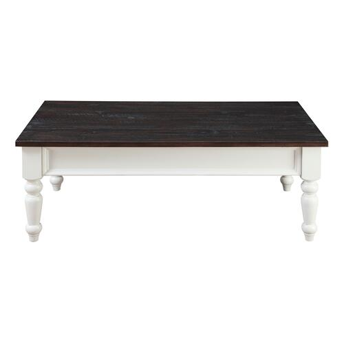 Emerald Home Furnishings - Emerald Home Mountain Retreat 2 Drawer Cocktail Table Antique White Base W/brown Rustic Plank Top T6013