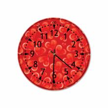Red Hearts Round Acrylic Wall Clock