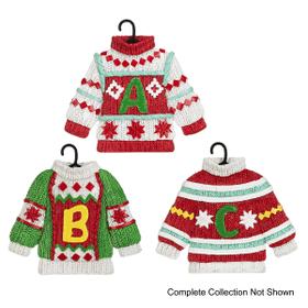 Cozy Christmas Monogram Sweater Ornaments (36 pc. ppk.)