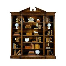 Triple Breakfront Walnut Open Bookcase with Pediment