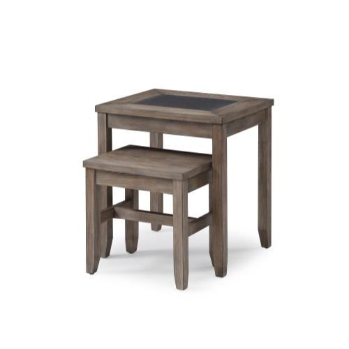 Emerald Home Nevada Nesting Tables-2 Pcs Wood W/tile Insert T925-2pcnest