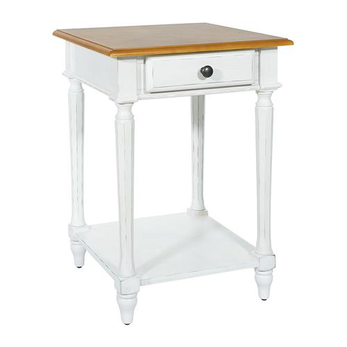 Medford End Table- White Distressed Frame With Natural Veneer Top