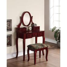 Ashley Wood Makeup Vanity Table and Stool Set - Cherry