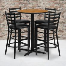 Product Image - 30'' Round Natural Laminate Table Set with X-Base and 4 Ladder Back Metal Barstools - Black Vinyl Seat
