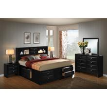 Blemerey 110 Black Wood Storage Bed Group QUEEN & KING Bed Dresser Mirror 2 Night Stands, King
