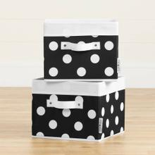 Canvas Baskets, 2-Pack - Black with White Dots