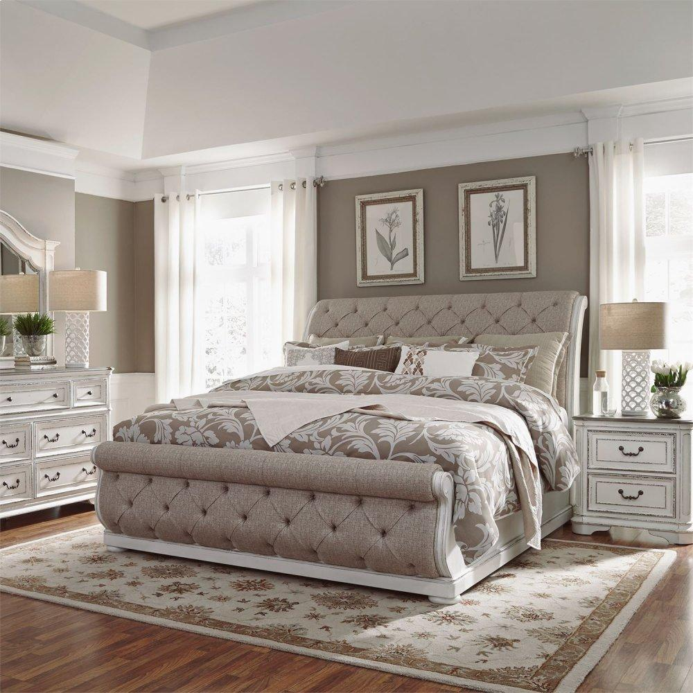King California Upholstered Sleigh Bed, Dresser & Mirror, N/S