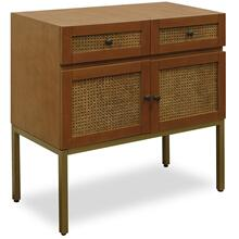 CANE CONSOLE  32in X 32in  Cane Console  Stylish 2 Drawer 2 Door Cane Front Cabinet with Gold Met
