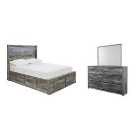 Full Panel Bed With 6 Storage Drawers With Mirrored Dresser