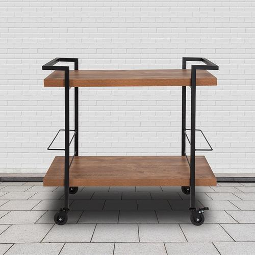 Flash Furniture - Castleberry Rustic Wood Grain and Iron Kitchen Serving and Bar Cart